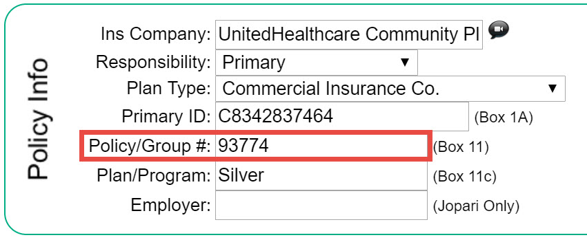 Box 11 - Insured's Policy, Group, or FECA Number - Therabill