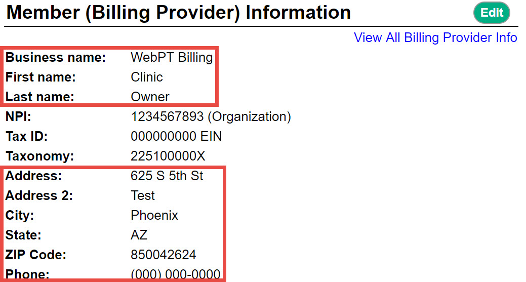 Box 33 - Billing Provider Info & Ph# – Therabill