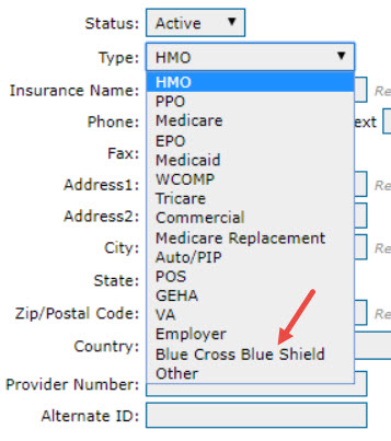 Blue Cross/Blue Shield Plan Type Update – Therabill